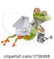 3d Green Springer Frog Gardener On A White Background