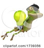 3d French Frog On A White Background