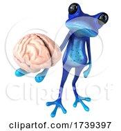 05/18/2021 - 3d Blue Springer Frog On A White Background