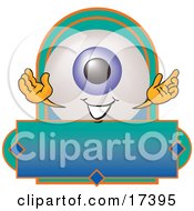 Eyeball Mascot Cartoon Character On A Blank Business Label