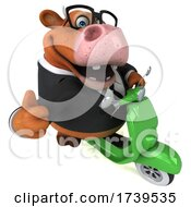 3d Brown Business Cow On A White Background