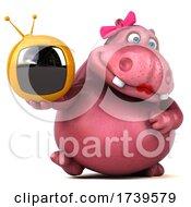 3d Pink Henrietta Hippo On A White Background