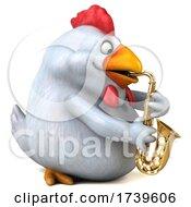 3d White Chicken On A White Background