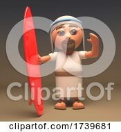 3d Jesus Christ The Holy Saviour With Red Surfboard