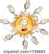 Poster, Art Print Of Happy Sun With Electric Plugs