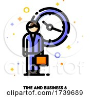 Icon Of Businessman With Briefcase On A Background Of Clock For 24 Hours 7 Days Week Customer Service And Assistance Concept