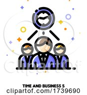 Icon Of Clock And Three Business Persons For Teams Work Time Efficiency Concept