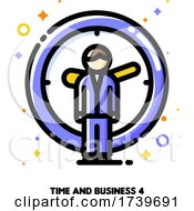 Icon Of Businessman On A Background Of Clock For Time Is Money Concept