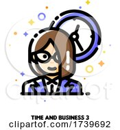 Poster, Art Print Of Icon Of Businesswoman On A Background Of Clock For Work Time Management Concept