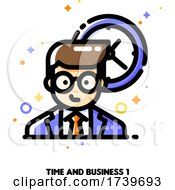 Icon Of Businessman On A Background Of Clock For Work Time Management Concept