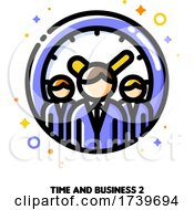 Icon Of Three Business Persons On A Background Of Clock For Teams Work Time Efficiency Concept