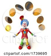 Poster, Art Print Of 3d Colorful Clown With Bitcoins On A White Background