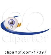 Eyeball Mascot Cartoon Character Waving And Standing Behind A Blue Dash On An Employee Nametag Or Business Logo
