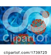 3D Medical Background With Abstract Covid 19 Virus Cells