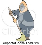 Cartoon Male Custodian Wearing A Mask And Mopping