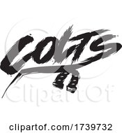 Horseshoe And COLTS Text In Brush Style