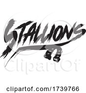 Horseshoe And STALLIONS Text In Brush Style