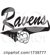 Bird Mascot Talons Grabbing A Baseball And RAVENS Text
