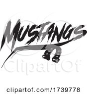 Horseshoe And MUSTANGS Text In Brush Style