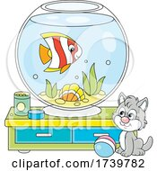 Kitty Cat By A Fish Bowl
