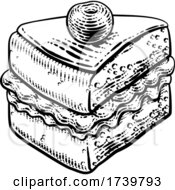 Cake Sponge Slice Jam Cream Woodcut Drawing by AtStockIllustration