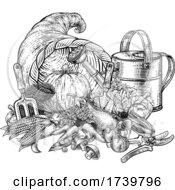 Poster, Art Print Of Cornucopia Horn Gardening Produce Vintage Woodcut