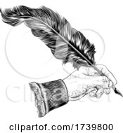03/13/2021 - Quill Feather Ink Pen Hand Vintage Woodcut Print