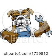 Bulldog Plumber Or Mechanic Holding Spanner