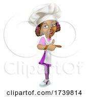 03/13/2021 - Black Girl Cartoon Child Chef Kid Sign Pointing