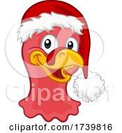 Turkey In Santa Hat Christmas Thanksgiving Cartoon
