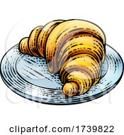 Croissant Pastry Bread Food Drawing Woodcut