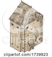 03/13/2021 - Medieval Building Map Icon Vintage Illustration