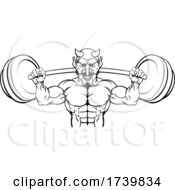 Devil Weight Lifting Body Builder Sports Mascot by AtStockIllustration
