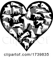 Poster, Art Print Of Labrador Retriever Dog Heart Silhouette Concept