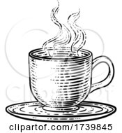 Coffee Tea Cup Hot Drink Mug Woodcut Etching by AtStockIllustration