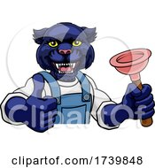 Panther Plumber Cartoon Mascot Holding Plunger by AtStockIllustration