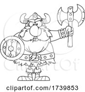 Black And White Viking Warrior Holding An Axe And Shield
