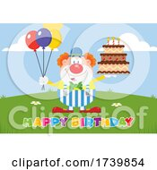 Happy Clown Holding Balloons And Cake With Happy Birthday Text by Hit Toon