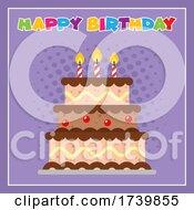 Happy Birthday Text Over Cake On Purple