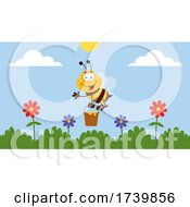 Worker Bee With A Pail Of Honey Over Flowers