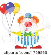 Poster, Art Print Of Happy Clown Waving And Holding Balloons