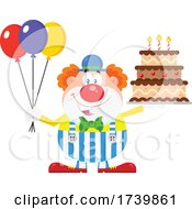 Happy Clown Holding Balloons And Birthday Cake by Hit Toon