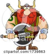 Cartoon Viking Warrior Holding An Axe