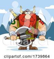 Cartoon Viking Warrior Holding An Axe In The Snow