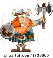 Poster, Art Print Of Cartoon Viking Warrior Holding An Axe And Shield