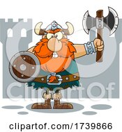 Cartoon Viking Warrior Holding An Axe And Shield By A Castle