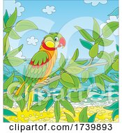 Parrot Perched Over A Beach