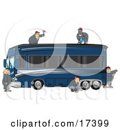 5 Male Mechanics In Coveralls Working Together To Fix And Repair A Luxurious Blue Bus Conversion Rv Motorhome