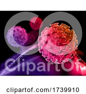 3D Medical Background With Covid 19 Virus Cells