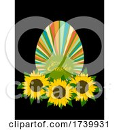 Easter Striped Egg With Sunflowers Bed On Black